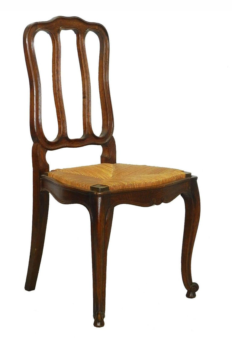 French Provincial Six French Dining Chairs Oak Chairs Rush Seats, Early 20th Century For Sale