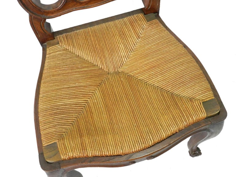 Six French Dining Chairs Oak Chairs Rush Seats, Early 20th Century In Good Condition For Sale In , South West France