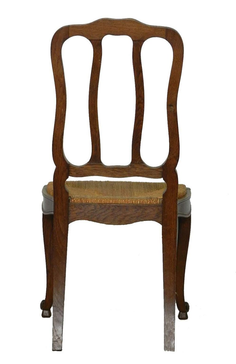Six French Dining Chairs Oak Chairs Rush Seats, Early 20th Century For Sale 1