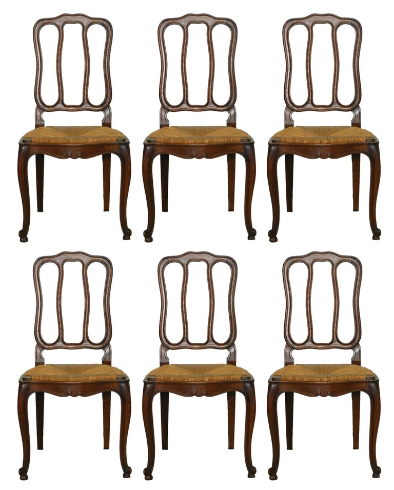Six French Dining Chairs Oak Chairs Rush Seats, Early 20th Century For Sale