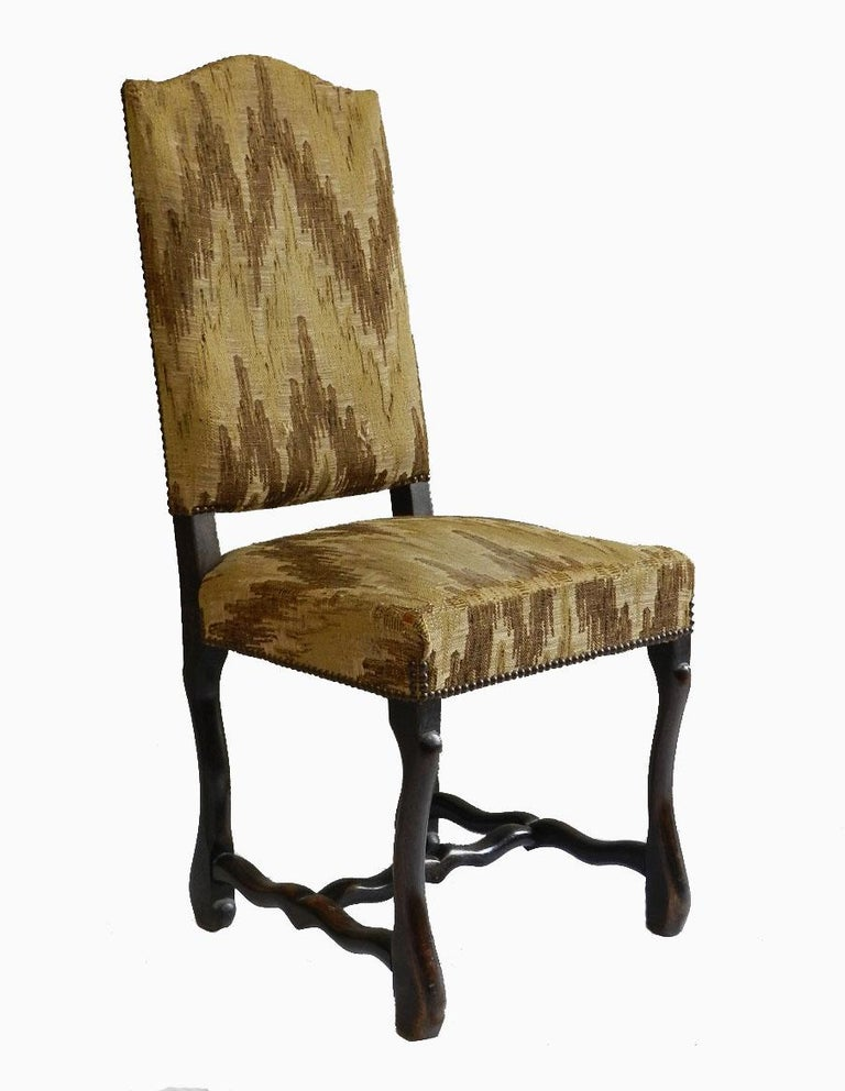 Set of Six Dining Chairs French Os de Mouton (sheep bone) c1920 Price includes recovering to any fabric of your choice to suit your interior (excludes cost of fabric)  Walnut Extremely comfortable Shown in the photos are color simulations (the brown
