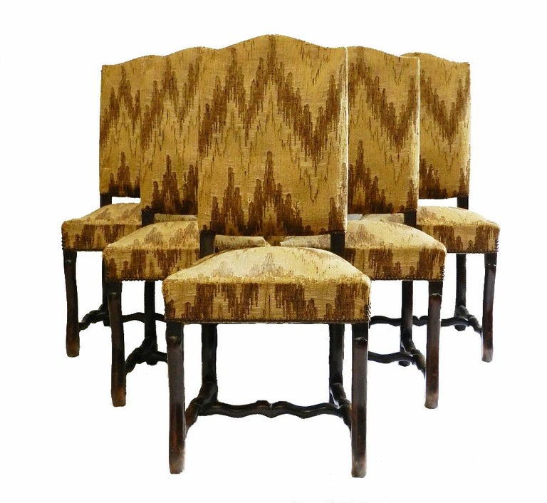 Louis XIII Six French Dining Chairs Os de Mouton includes recovering For Sale