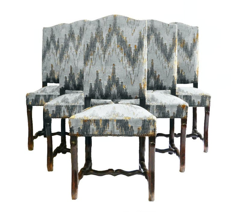 Six French Dining Chairs Os de Mouton includes recovering In Good Condition For Sale In France, GB