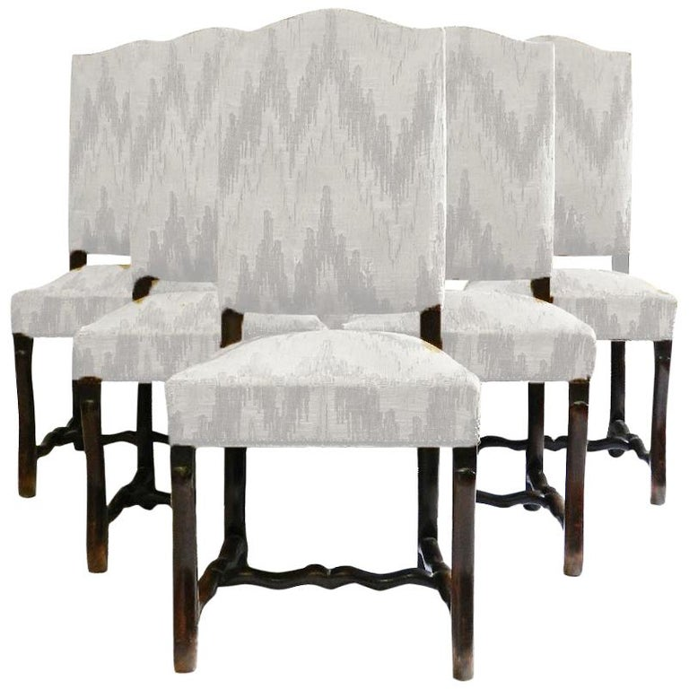 Six French Dining Chairs Os de Mouton includes recovering For Sale