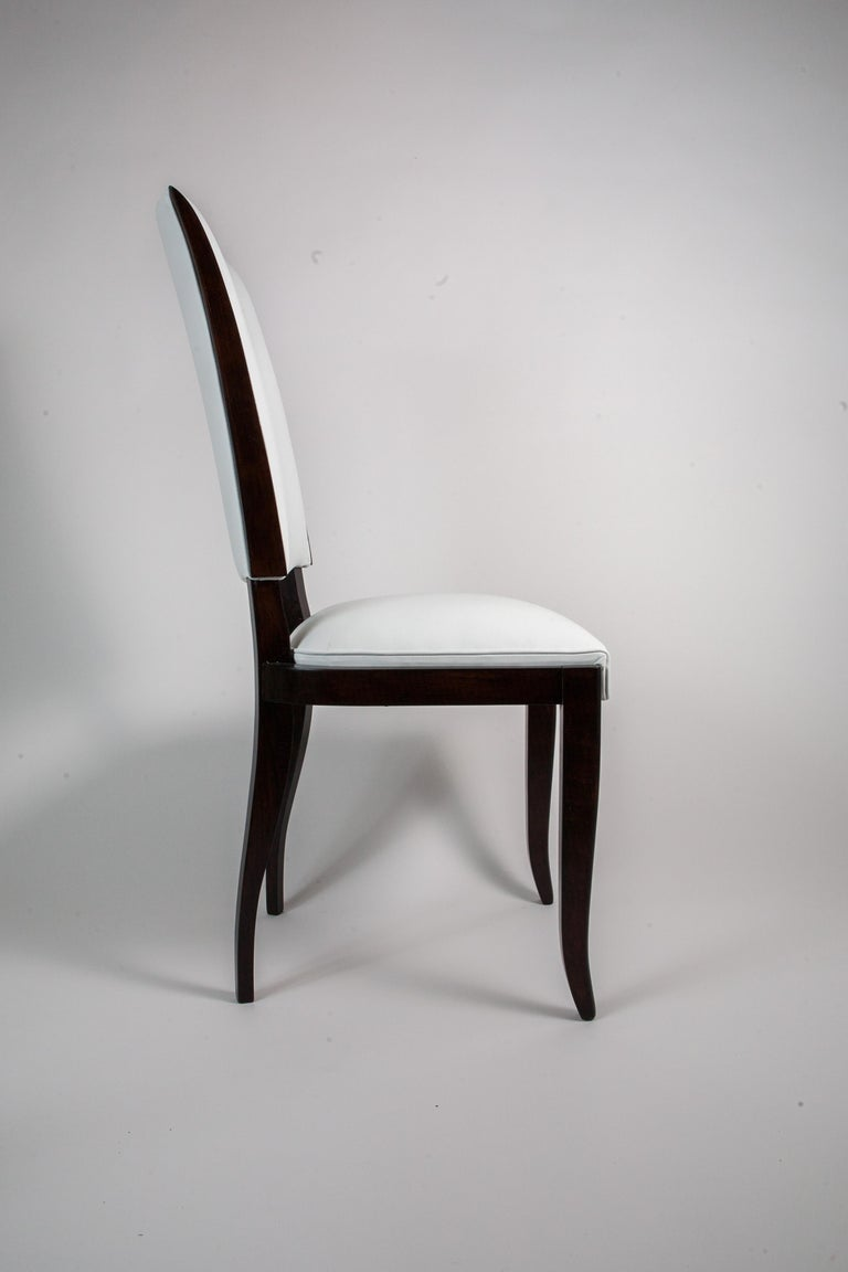 Mid-20th Century Six French Rosewood Art Deco Dining Chairs