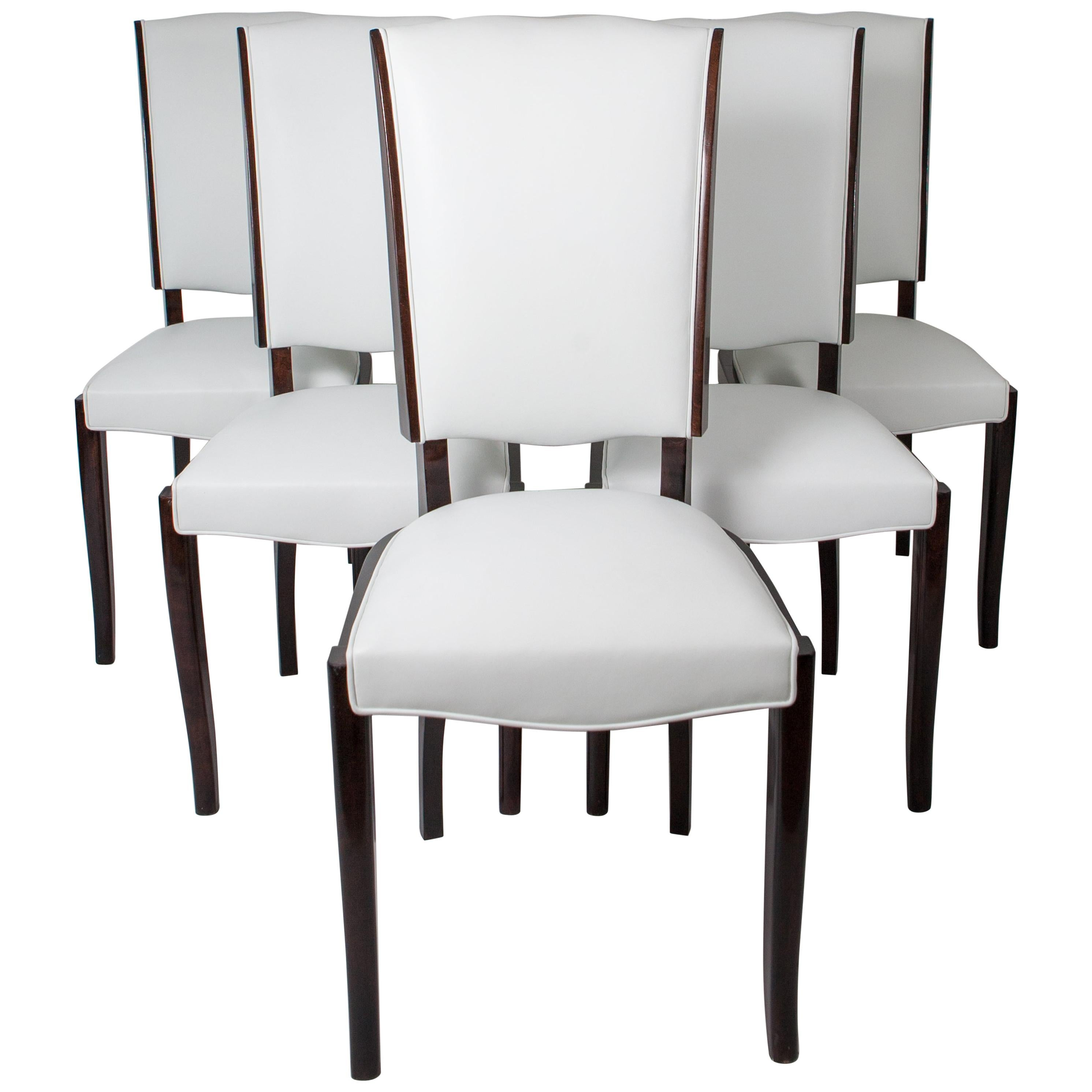 Six French Rosewood Art Deco Dining Chairs