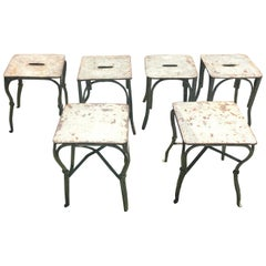 Four French Wrought Iron Garden Stools or Side Tables