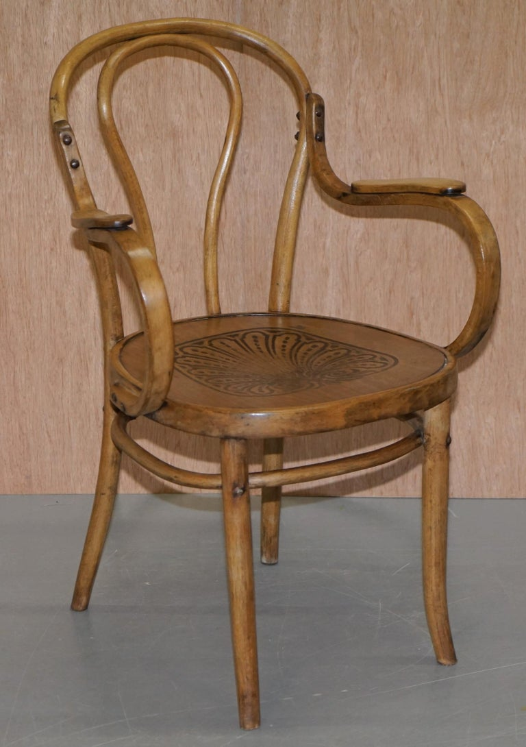Six Fully Stamped circa 1900 Mundus J&J Jacob & Josef Kohn Bentwood Armchairs For Sale 5
