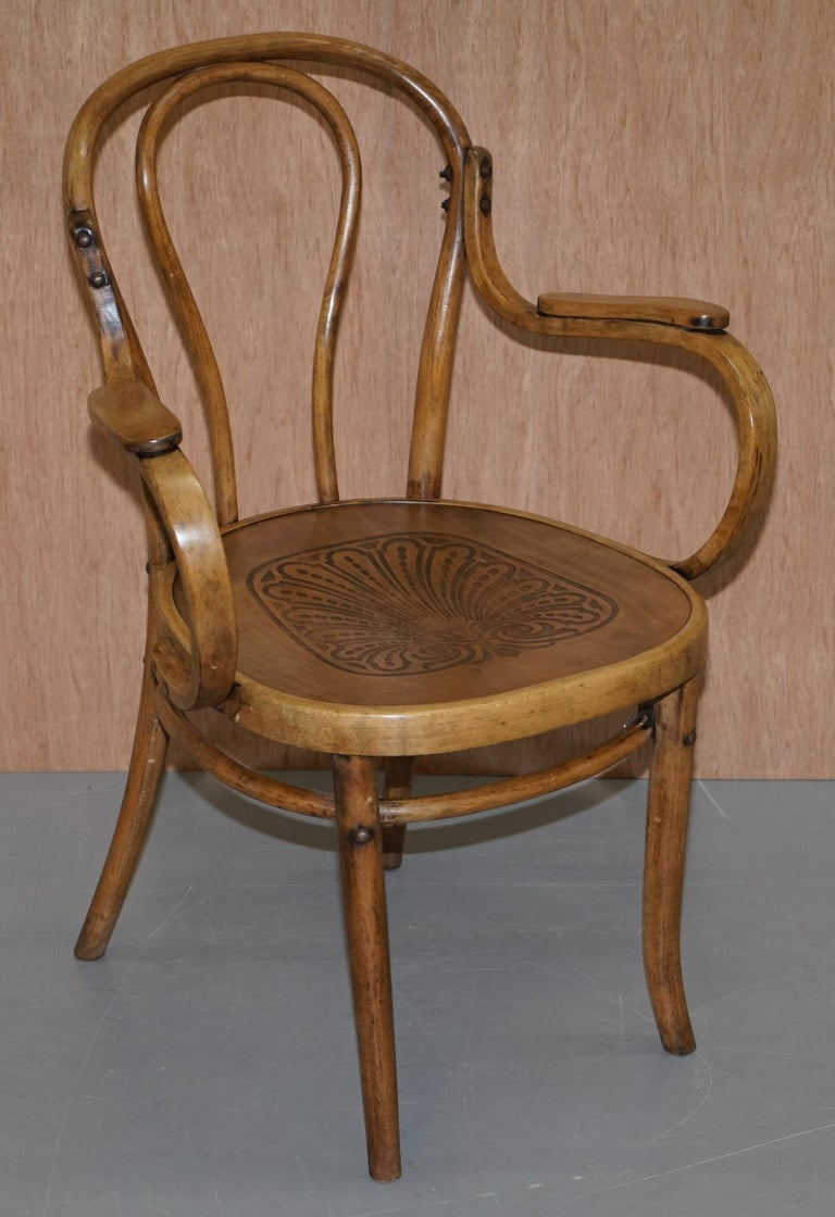 Six Fully Stamped circa 1900 Mundus J&J Jacob & Josef Kohn Bentwood Armchairs For Sale 7