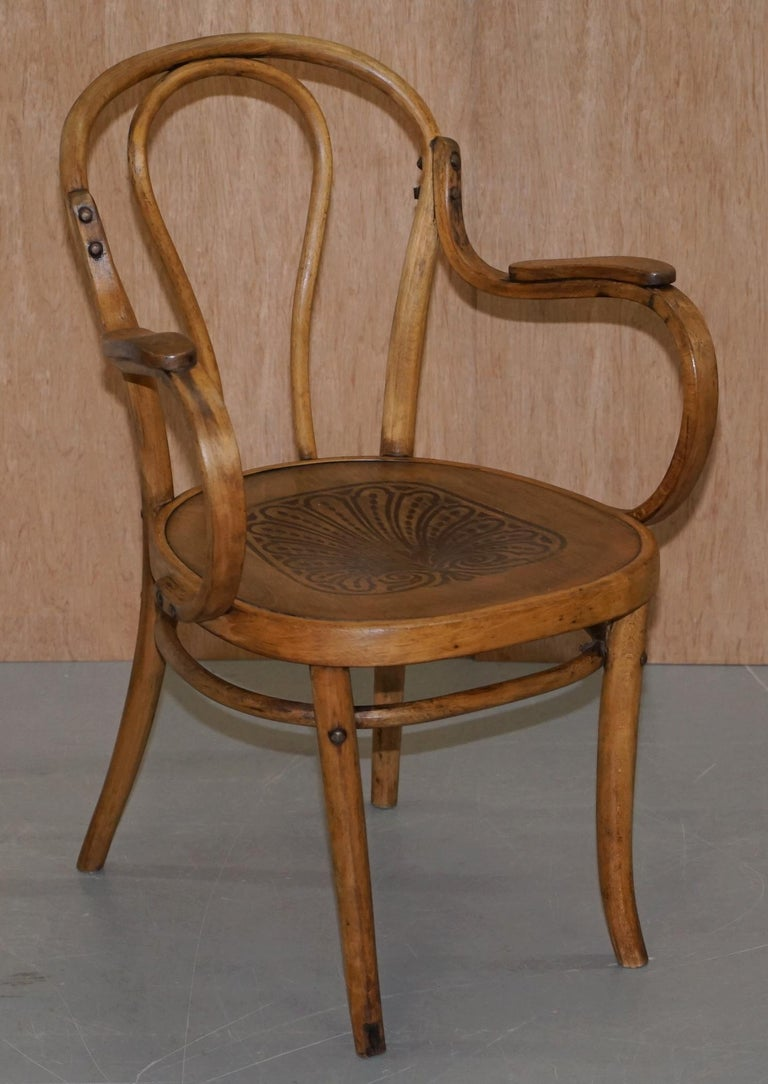 Six Fully Stamped circa 1900 Mundus J&J Jacob & Josef Kohn Bentwood Armchairs For Sale 9