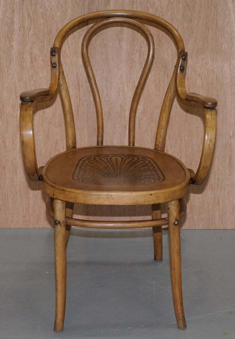 Slovakian Six Fully Stamped circa 1900 Mundus J&J Jacob & Josef Kohn Bentwood Armchairs For Sale