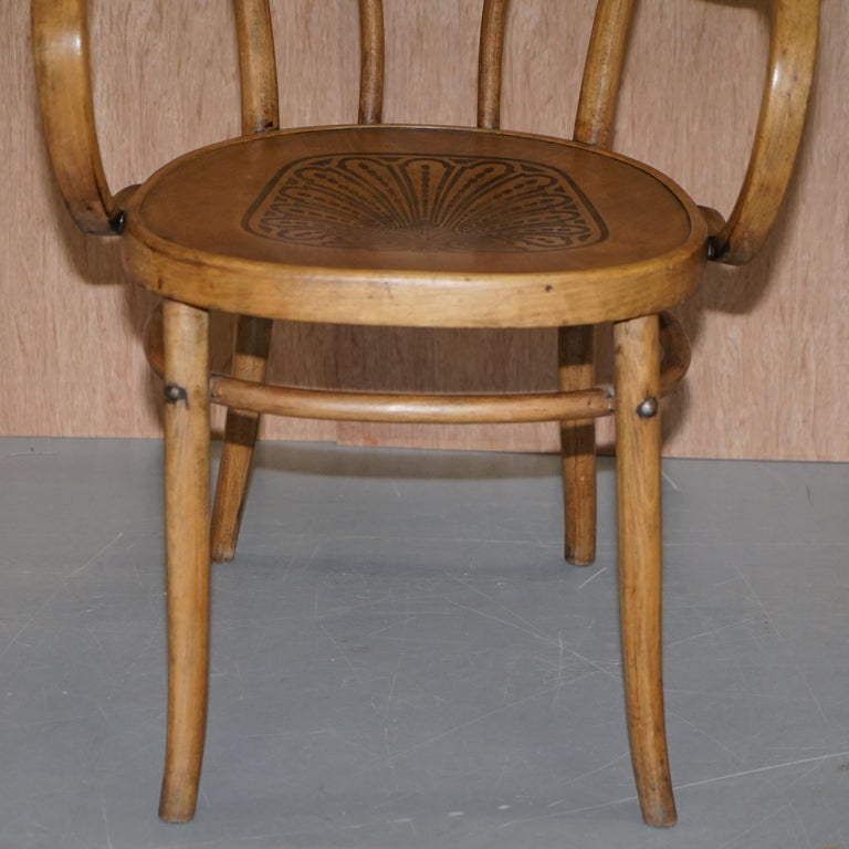 Six Fully Stamped circa 1900 Mundus J&J Jacob & Josef Kohn Bentwood Armchairs For Sale 1