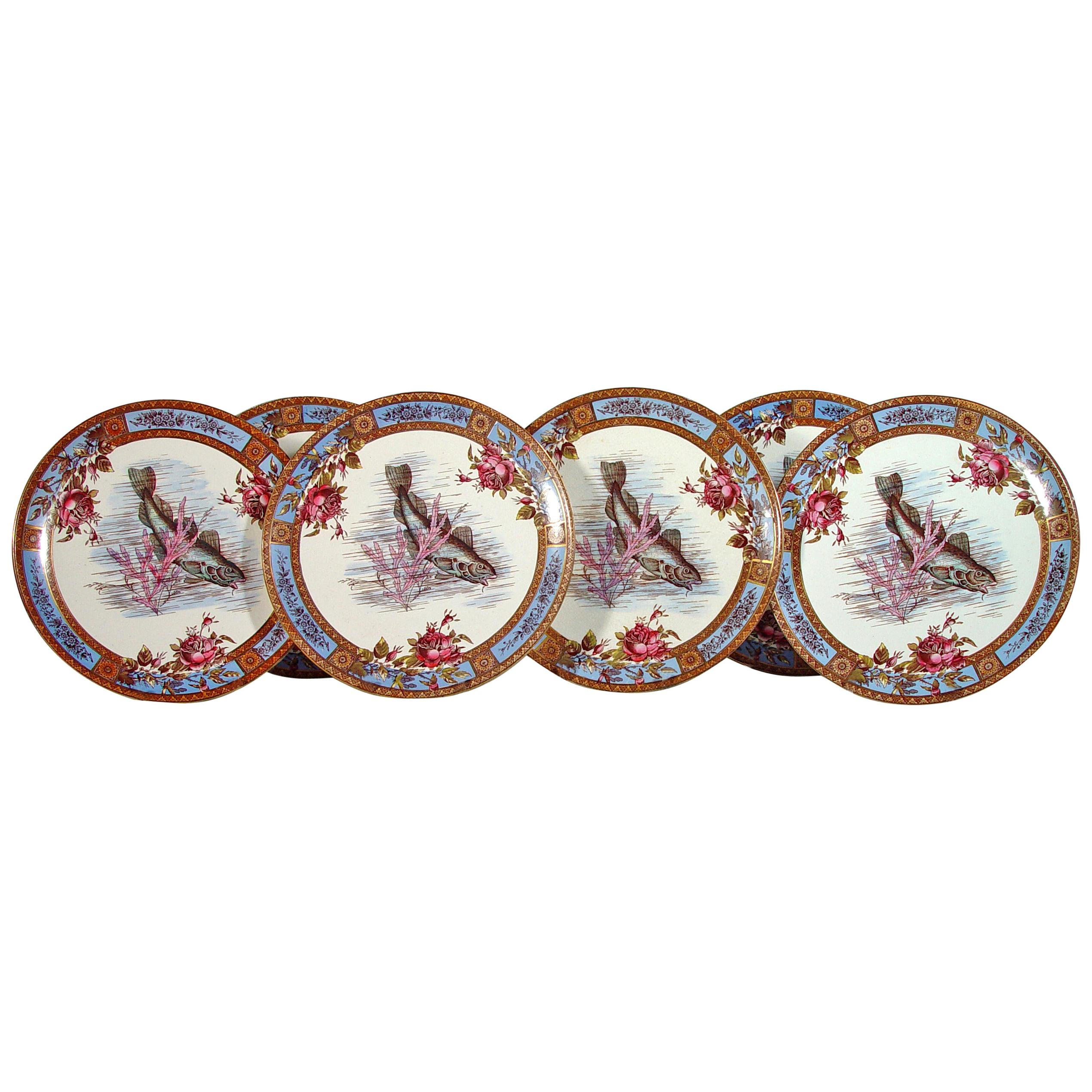 Six Garfield Pottery Earthenware Plates with Fish, Wood & Hulme