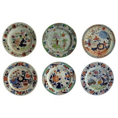 Six Georgian Mason's Ironstone Dinner Plates Harlequin Set Some Rare, circa 1815