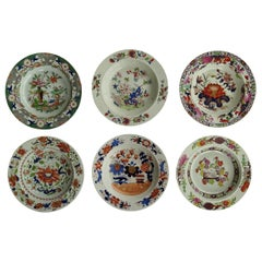 Six Georgian Mason's Ironstone Soup Bowls or Plates Harlequin Set, circa 1815