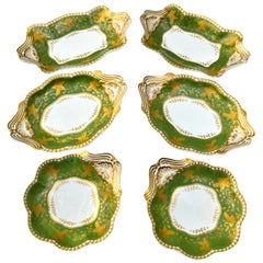 Six Georgian Spode Felspar Porcelain Serving Dishes in White Green and Gold