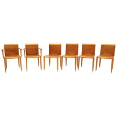 Six Giorgetti Dining Chairs in Cognac Leather