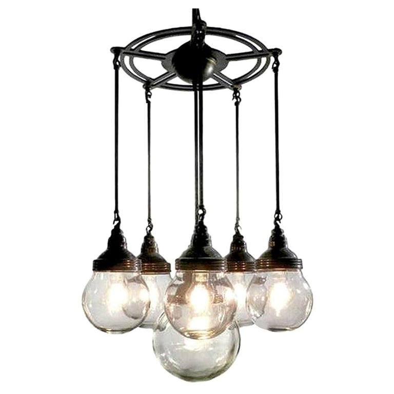 Six-Globe Armory Chandelier For Sale