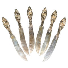 "Six Gold Wash Sterling Silver ""Labors of Cupid"" Knives by Dominick and Haff"