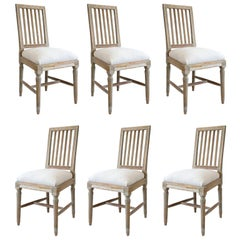 Six Green-Gray Painted Swedish Dining Chairs