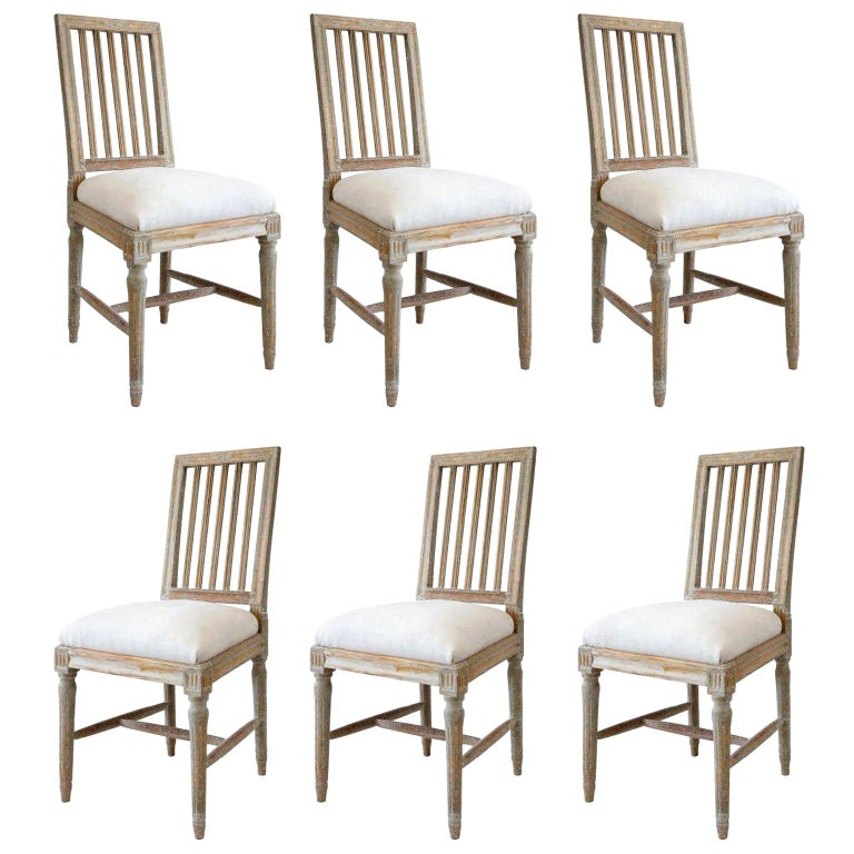 Six Green-Gray Painted Swedish Dining Chairs For Sale