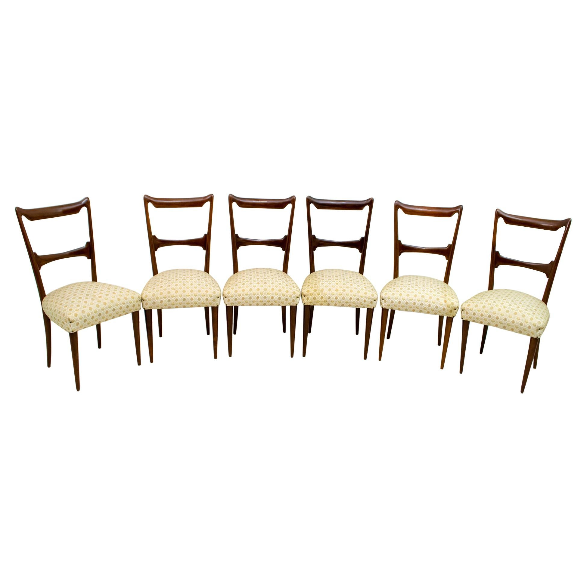 Six Guglielmo Ulrich Mid-Century Modern Italian Walnut Dining Chairs, 1950s