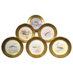 Six Hand Painted Lenox Porcelain Cabinet Plates by E.A DeLan for Tiffany & Co.