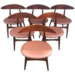 Six Hans Wegner for Carl Hansen Teak Model CH33 Dining Chairs