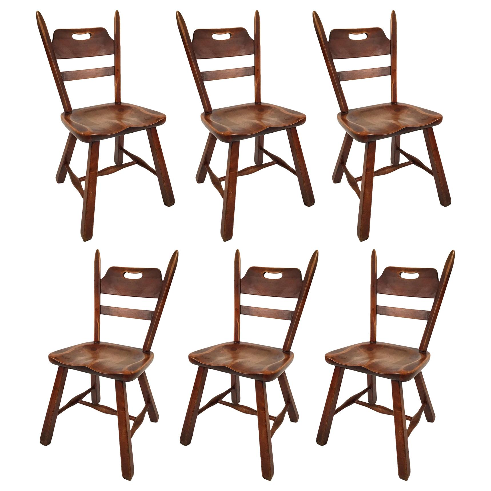 Six Hard Rock Vermont Maple Americana Dining Chairs, Herman DeVries for Cushman