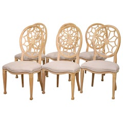Six Hepplewhite Style White Painted Spiderweb Back Dining Chairs, 20th Century