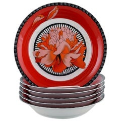 Six Hermes Porcelain Bowls Decorated with Red Flowers, 1980s