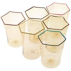 Six Hexagonal Pagliesco Glasses, Assorted Color Rim, Carlo Scarpa, 1932 Design