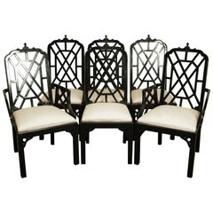 Six Hollywood Regency Chinoiserie Pagoda Dining Chairs