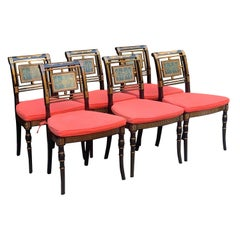 Six Hollywood Regency Hand Painted Dining Chairs with Cushions