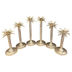 Six Hollywood Regency Style Silverplated Palm Tree Candlesticks
