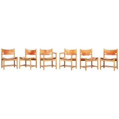 Six Hunting Dining Chairs 3237 & 3238 by Børge Mogensen for Fredericia Denmark