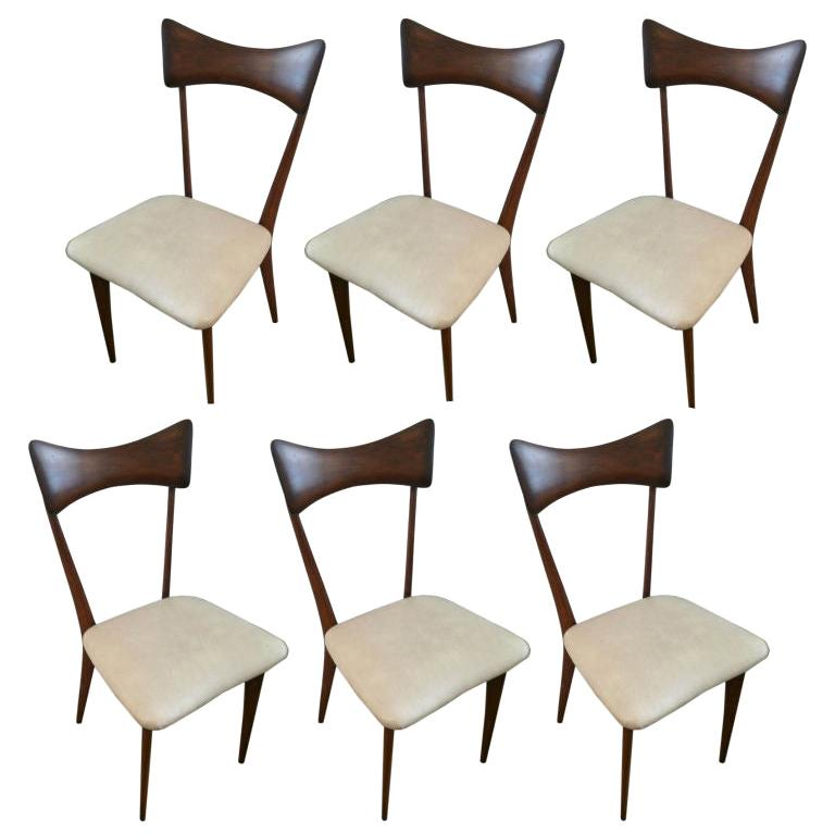 Six Ico Parisi Dining Chairs For Sale