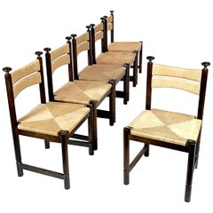 Six Ilmari Tapiovaara Midcentury Woven Rush Chairs for Asko, 1960s, Finland