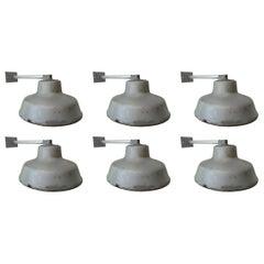 Six Industrial Steel Wall Lights