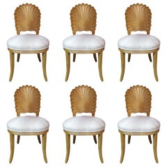 Six Italian Decorative Venetian Shell Back Dining Chairs