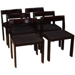 Six Italian Design Chairs in Mahogany Wood, 20th Century