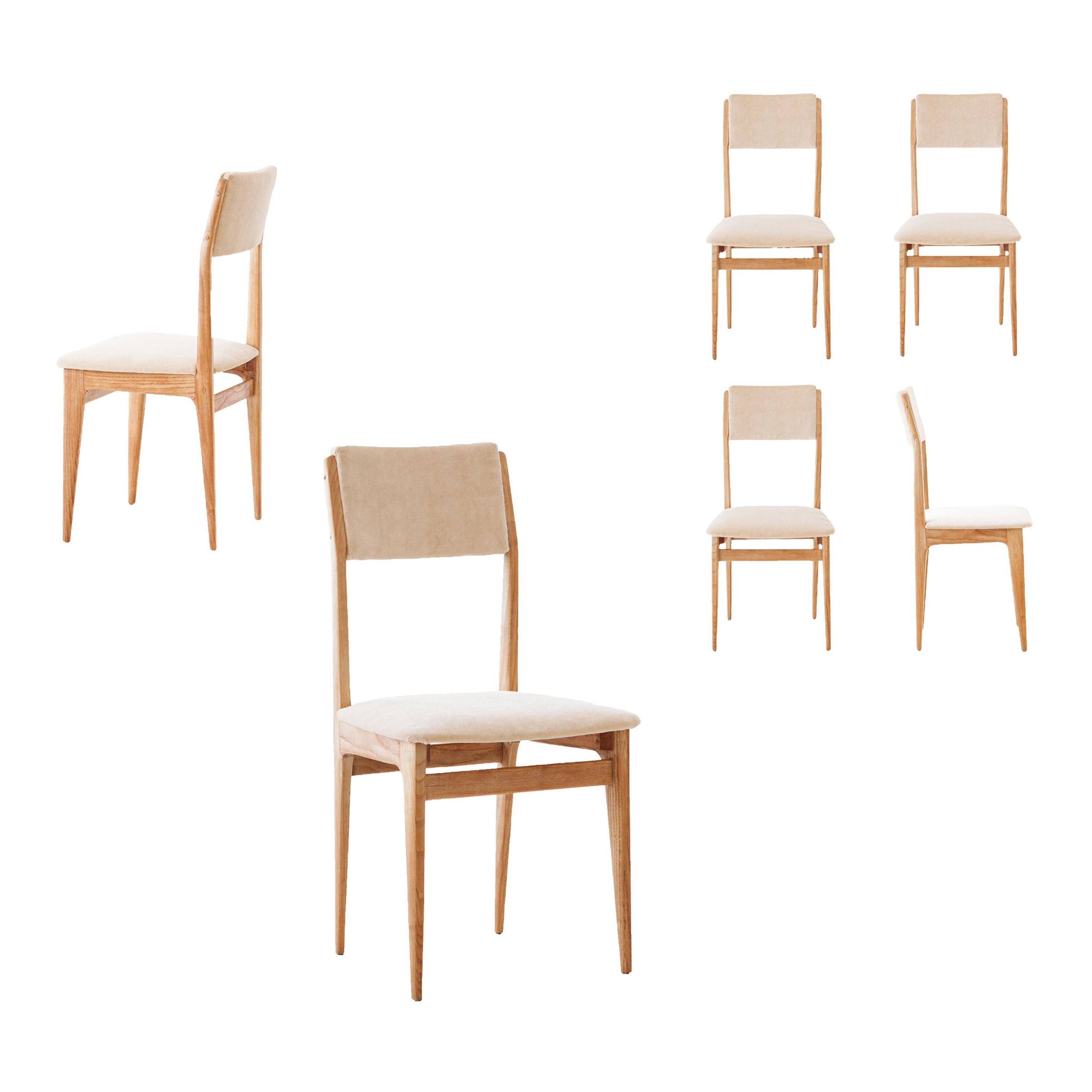 Six Italian Dining Chairs in Oak and Sand Velvet, 1950s