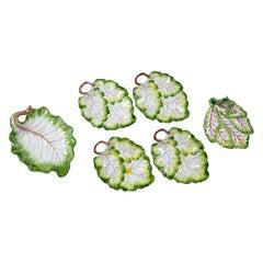 Six Italian Leaf Plates