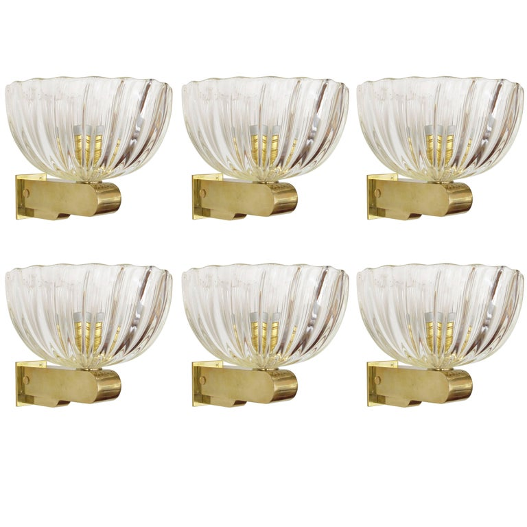 Six Italian Scalloped Murano Glass Sconces