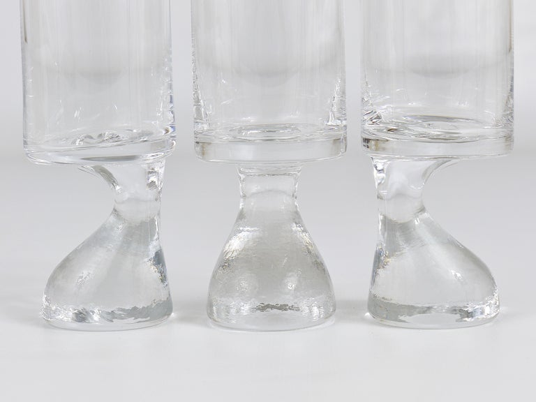A set of six beautiful and fine midcentury drinking glasses, small size, to be used for liqueur or spirits. Designed by Joe Colombo in 1964, made of handblown crystal glass by Riedel Austria. In excellent condition. Marked on their bases. Please
