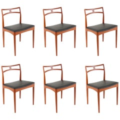 Six Johannes Andersen Danish Modern Teak Dining Chairs, Christian Linneberg