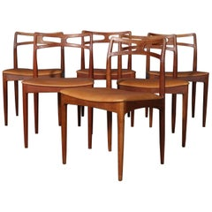Six Johannes Andersen Teak Dining Chairs, Model 96, Christian Linneberg, 1960s