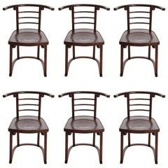 Six Josef Hoffmann Chairs Armchairs Cabaret Fledermaus, J.&J. Kohn, Vienna, 1907