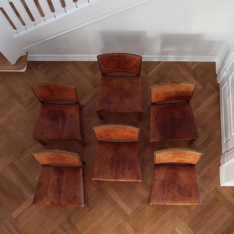 Mid-Century Modern Six Kaare Klint Red Chairs, Mahogany and Original Niger Leather For Sale