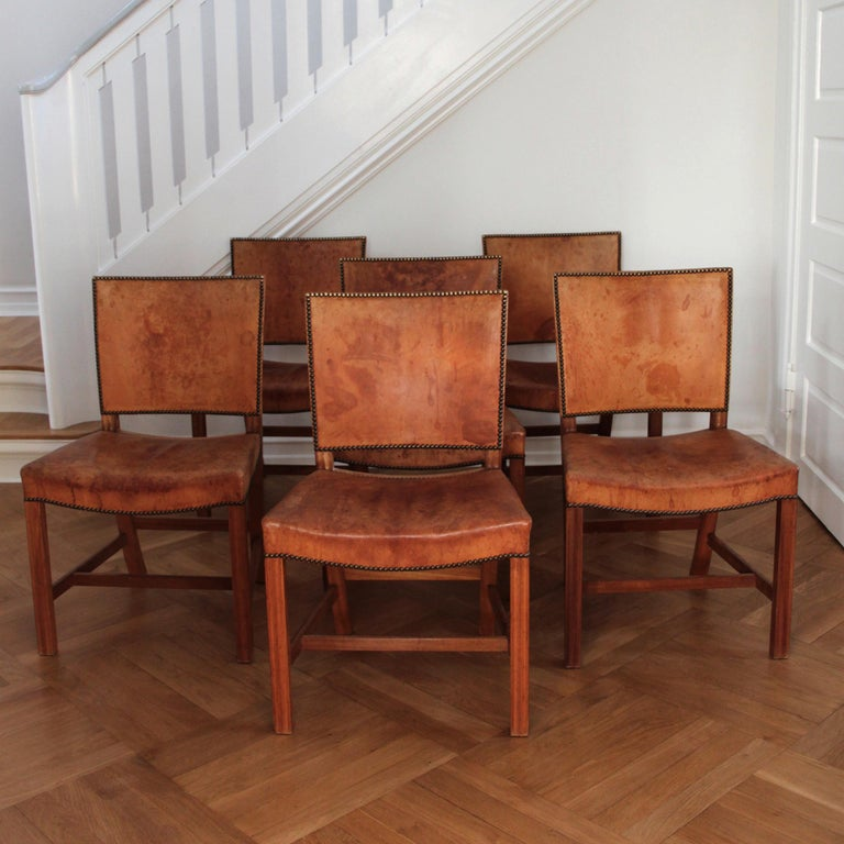 Danish Six Kaare Klint Red Chairs, Mahogany and Original Niger Leather For Sale
